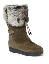 Aquatalia By Marvin K Weslyn Leather And Faux Fur Lined Boots Forest