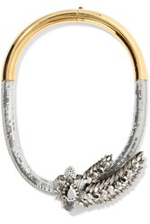 Shourouk Tiger Comet Gold Tone Sequin And Crystal Necklace
