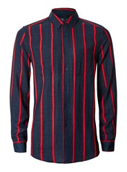 Topman Blue Red And Navy Stripe Crinkle Effect Casual Shirt