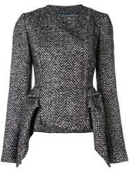 Capucci Peplum Tweed Jacket Black