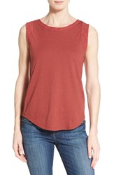 Women's Caslon Lace Trim Tank Red Cowhide