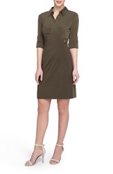 Tahari Women's Side Buckle Jersey Shirtdress