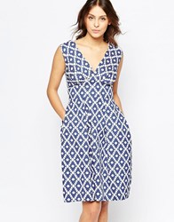 Closet V Neck Dress In Asymmetric Print Blue White Black