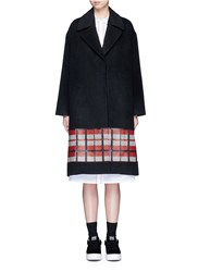 Cynthia And Xiao Textured Tartan Felted Wool Cashmere Coat Black Multi Colour