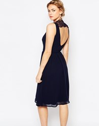 Elise Ryan Skater Dress With Lace Panel Back Navy
