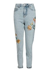 Topshop Moto Fall Floral Embroidered Mom Jeans Bleach Stone