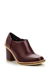 Lost Ink Low Cut Mid Heel Ankle Boots Ox Blood