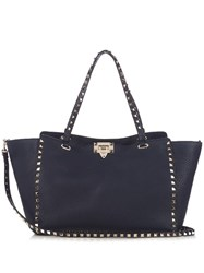 Valentino Rockstud Grained Leather Tote Navy