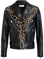 Saint Laurent Animal Print Biker Jacket Black