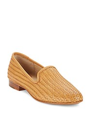 Frye Tracy Woven Leather Smoking Slippers Tan