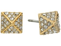 Rebecca Minkoff Pave Pyramid Stud Earrings Gold Crystal Earring