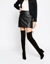 Glamorous Tie Back Black Heeled Over The Knee Boots Black Mf