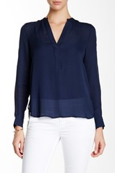 Vince Mesh Insert Half Placket Silk Blouse Blue