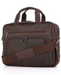 Kenneth Cole Reaction Colombian Leather Expandable Double Gusset Laptop Brief Dark Brown