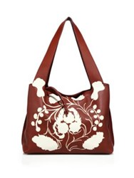 The Row Printed Calfskin Leather Tote Sienna White