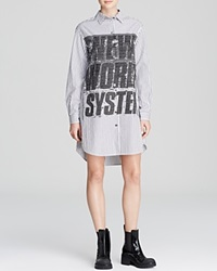 Marc By Marc Jacobs Shirt Dress Venice Stripe Button Up Graphic Gunmetal Multi