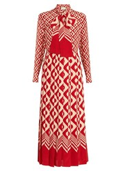 Gucci Long Sleeved Geometric Print Silk Dress Red White