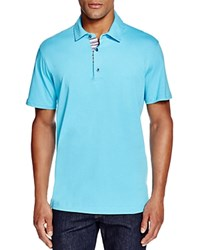 Robert Graham Stoked Stripe Placket Slim Fit Polo Shirt 100 Bloomingdale's Exclusive Aqua