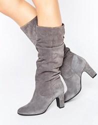 Oasis Suede Gathered Knee Heeled Boot Grey