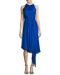 Carmen Marc Valvo Sleeveless Asymmetric Cocktail Dress Size 8 Blue Royal Blue