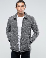 Asos Wool Mix Coach Jacket In Salt And Pepper Black
