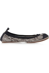 Yosi Samra Snake Effect Leather Ballet Flats Gray