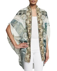 Camilla Open Front Embellished Cardigan Gray