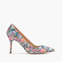 J.Crew Elsie Pumps In Glitter Palm Black Pink Mint