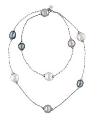Majorica 12 15Mm Multi Color Baroque Pearl And Sterling Silver Necklace