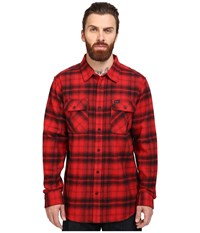 Rvca Standoff Long Sleeve Flannel Pompei Red Men's Clothing