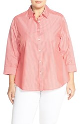 Plus Size Women's Foxcroft Stripe Non Iron Cotton Shirt Scarlet