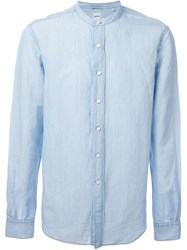 Aspesi 'Coreana' Mandarin Collar Button Down Shirt Blue