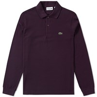 Lacoste Long Sleeve Marl Pique Polo Burgundy