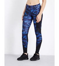 Ivy Park Camouflage Print Skinny Mid Rise Jersey Leggings Navy