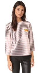 Chinti And Parker Stripe Heart Sailor Tee Cream Bordeaux