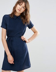 Ymc Pleated Dress With Collar Navy Blue