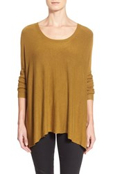 Petite Women's Eileen Fisher Scoop Neck Boxy Top Gold Leaf