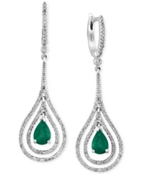 Brasilica By Effy Collection Emerald 1 1 8 Ct. T.W. And Diamond 3 4 Ct. T.W. Earrings In 14K White Gold Green