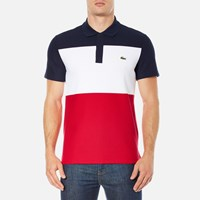 Lacoste Men's Short Sleeve Bold Stripe Polo Shirt Navy Blue White Red