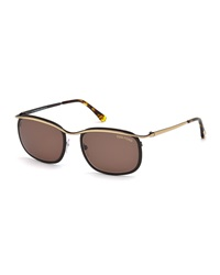Tom Ford Shiny Metal Sunglasses Rose Gold Black