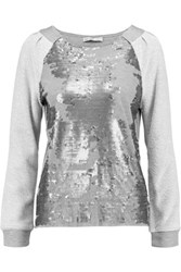 Chelsea Flower Sequin Embellished Jersey Top Gray