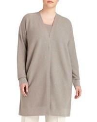 Lafayette 148 New York Sequined Cashmere Link Stitch Cardigan Beige