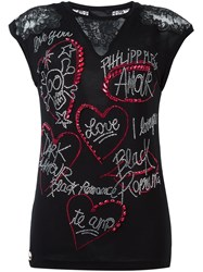 Philipp Plein 'Live Love Life' T Shirt Black