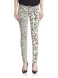 Hudson Nico Mixed Leopard Print Skinny Jeans Street Side