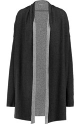 Majestic Draped Cotton And Cashmere Blend Cardigan Dark Gray