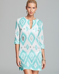 Echo Island Ikat Sequined Tunic Swim Cover Up Caribbean Blue