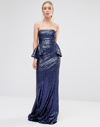 City Goddess Bandeau Sequin Peplum Maxi Dress Royal Blue