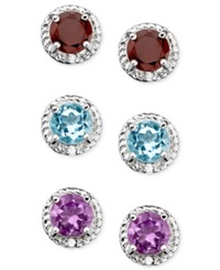 Victoria Townsend Sterling Silver Three Piece Earring Set Blue Topaz Garnet And Amethyst Studs