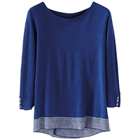 Poetry Linen Striped Jumper Sapphire