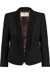 Halston Satin Trimmed Wool Blend Blazer